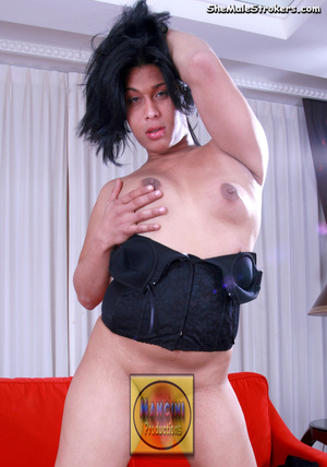 Brown haired shemale in a sexy green bik - XXX Dessert - Picture 2