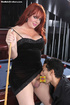 Curvy redhead t-girl gets her cock sucked