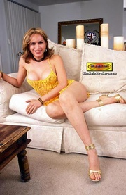 blonde tranny yellow outfit