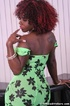 Freaky black trans whore takes off her green dress