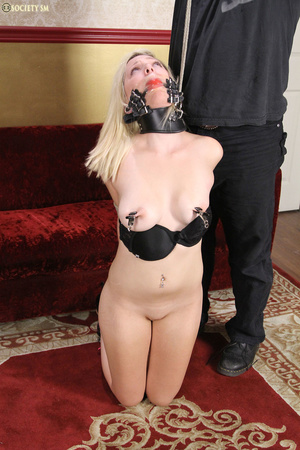 Cute blonde folded, racked, tied and gag - XXX Dessert - Picture 6