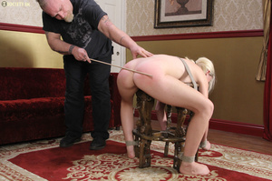 Cute blonde folded, racked, tied and gag - XXX Dessert - Picture 14