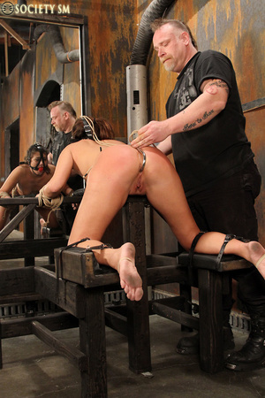 Sexy ass brunette bound, upturned, whipp - XXX Dessert - Picture 6