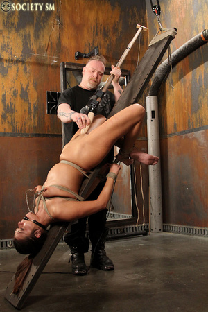 Sexy ass brunette bound, upturned, whipp - XXX Dessert - Picture 7
