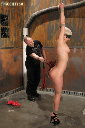Lovely blonde tied, hung, gagged, shocke - XXX Dessert - Picture 4