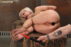 Lovely blonde tied, hung, gagged, shocke - XXX Dessert - Picture 13