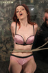 Pretty curvy redhead roped, gagged then whipped, caned and poked till