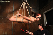 sexy babe roped suspended
