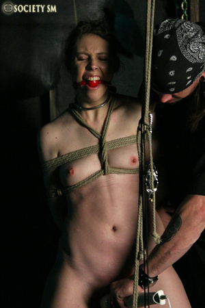 Brunette roped, suspended, racked and to - XXX Dessert - Picture 5
