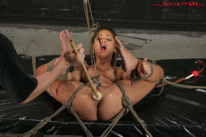 Sexy brunette roped, suspended, folded a - XXX Dessert - Picture 13
