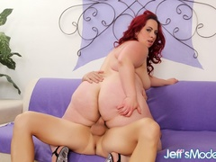 Chubby redhead in black lingerie blows dick and spreads - Picture 10