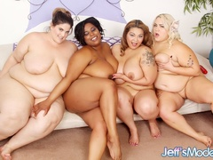 Chubby ebony, blonde and brunettes flaunt and lick hot - Picture 13