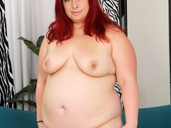 Big redhead in sexy black lingerie fingers cunt, sucks - Picture 6