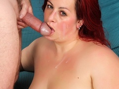 Big redhead in sexy black lingerie fingers cunt, sucks - Picture 14