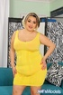 Big as tattooed cutie in yellow dress and orange…