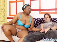 Naughty big ebony in blue bra shows pierced tits then - Picture 1