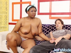 Naughty big ebony in blue bra shows pierced tits then - Picture 2