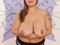Big tits chubby tattoo brunette in blue corset drills - Picture 5