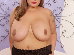 Big tits chubby tattoo brunette in blue corset drills - Picture 6