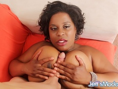Chubby ebony in pink dress sucks cock, gives tits job - Picture 9