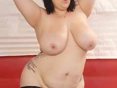 Sweet busty brunette in black and cream lingerie flaunts - Picture 10