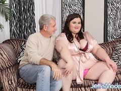 Chubby brunette in pink and black lingerie sucks dick - Picture 1