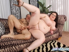 Chubby brunette in pink and black lingerie sucks dick - Picture 11
