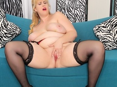 Spicy chubby blonde in black dress and lingerie rubs - Picture 14