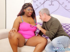 Pierced chubby ebony in pink top sucked, fingered, - Picture 1