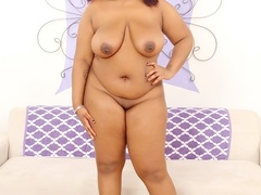 Hot chubby ebony in pink dress and blue bra plays with - Picture 9