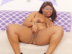 Hot chubby ebony in pink dress and blue bra plays with - Picture 13