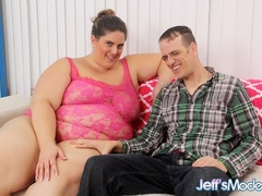 Big ass chubby babe in pink negligee sucks and gets - Picture 1