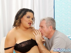 Hot chubby brunette in black lingerie works cock with - Picture 2