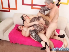 Tattooed chubby cutie in black net outfit joins redhead - Picture 12
