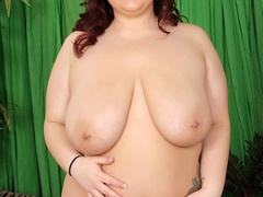 Busty chubby brunette in cream lingerie fucks red dildo - Picture 7