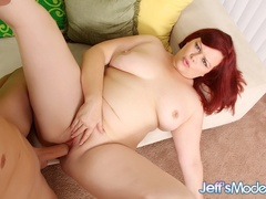 Cherry chubby redhead in dark red dress blows cock and - Picture 10
