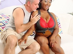 Spicy busty ebony in brown skirt and red lingerie gives - Picture 1