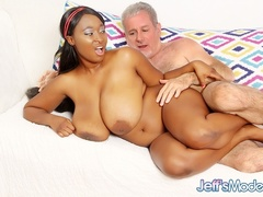 Spicy busty ebony in brown skirt and red lingerie gives - Picture 12