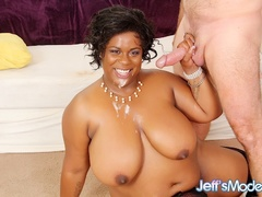 Big boobs ebony in red lingerie and black stockings - Picture 14