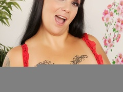 Hot tattooed brunette in red and black negligee sucks - Picture 5