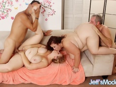 Big blonde, redhead and two brunettes share three dicks - Picture 4