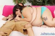 big chubby brunette blue