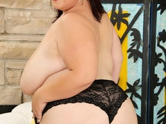 Creamy busty brunette in blue dress and black panties - Picture 6