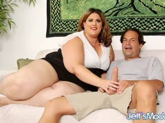 Big chubby brunette in white and black sucks and gets - Picture 1