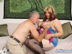 Horny big damsel in blue negligee and black stockings - Picture 2