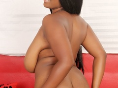 Petite ebony with massive tits in blue dress flaunts - Picture 10
