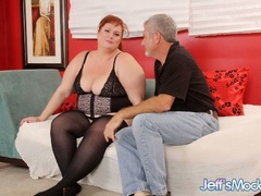 Chubby sexy redhead in black sucks dick, gets licked, - Picture 1