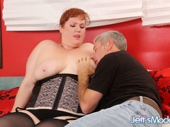 Chubby sexy redhead in black sucks dick, gets licked, - Picture 2