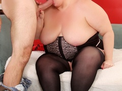 Chubby sexy redhead in black sucks dick, gets licked, - Picture 3