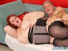 Chubby sexy redhead in black sucks dick, gets licked, - Picture 10